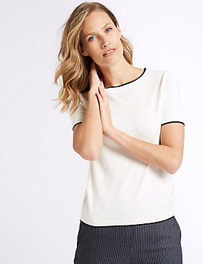 Contrasting Edge Short Sleeve Jumper, CREAM, catlanding