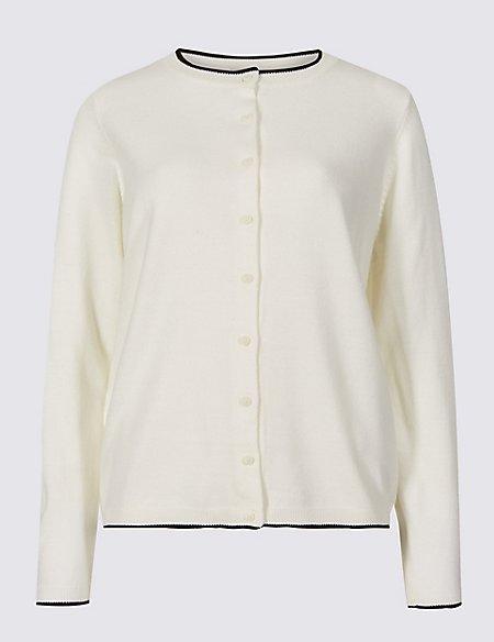 Round Neck Long Sleeve Cardigan