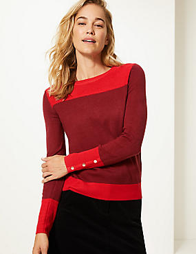 Colour Block Round Neck Jumper , RED MIX, catlanding
