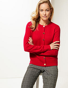 Lambswool Blend Textured Cardigan , RED, catlanding