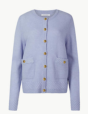 Lambswool Blend Textured Cardigan