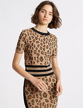 Animal Print Jumper & Pencil Skirt Suit Set