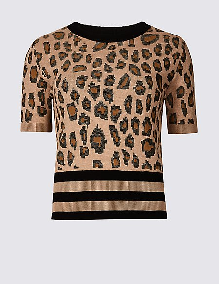 Animal Print Round Neck Short Sleeve Jumper