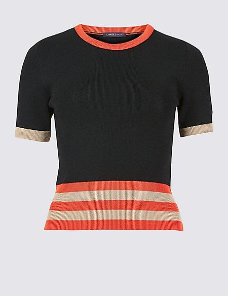 Striped Round Neck Short Sleeve Jumper