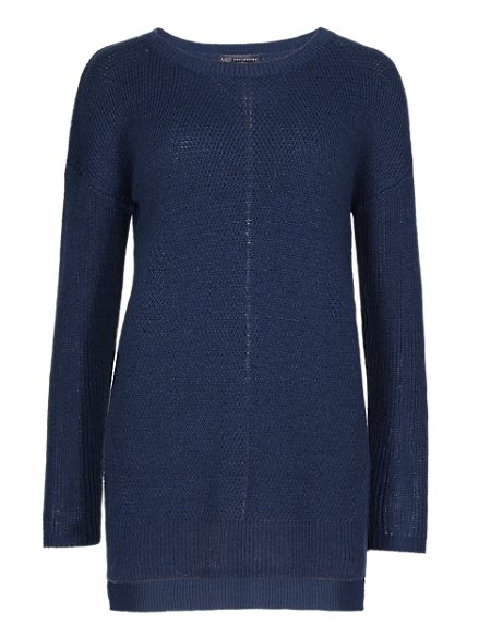 Deflected Ribbed Jumper with Wool