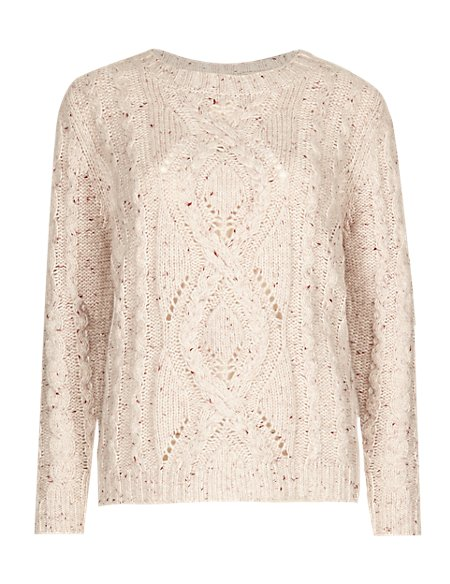 Cable Knit Flecked Jumper with Wool
