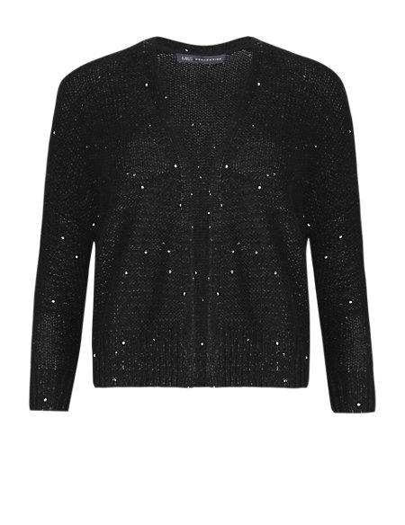 Open Front Sequin Embellished Bolero Cardigan