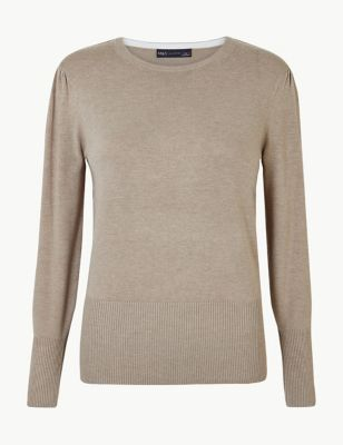 Round Neck Long Sleeve Jumper by Marks & Spencer