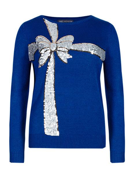 Sequin Embellished Bow Christmas Jumper