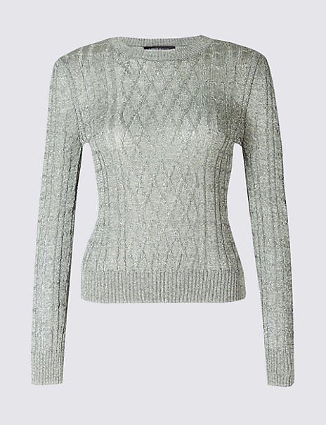Textured Metallic Cable Knit Jumper
