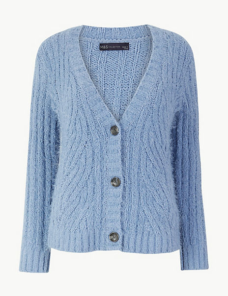 Chenille Cable Knit V-Neck Cardigan