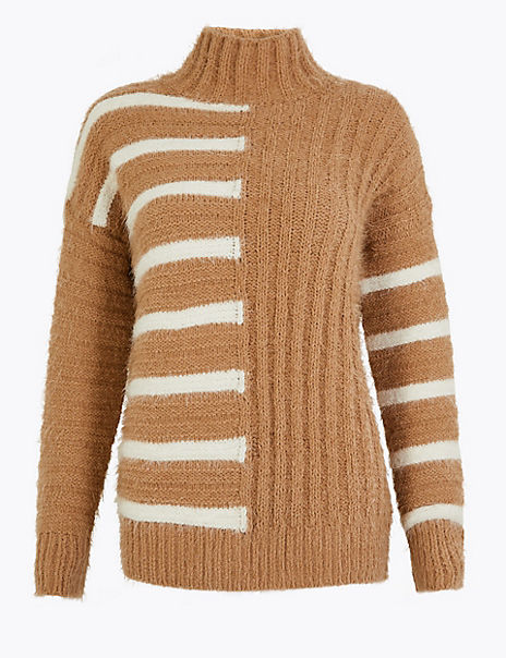 Striped Turtle Neck Relaxed Fit Jumper