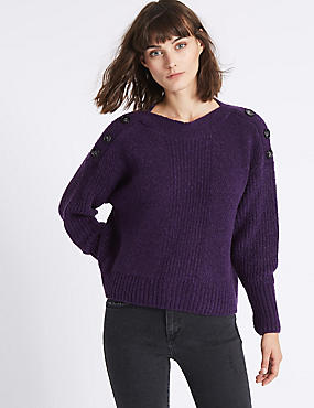 Shoulder Button Slash Neck Jumper, PURPLE, catlanding