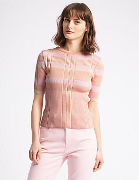 Cotton Rich Striped Round Neck Jumper , PINK MIX, catlanding