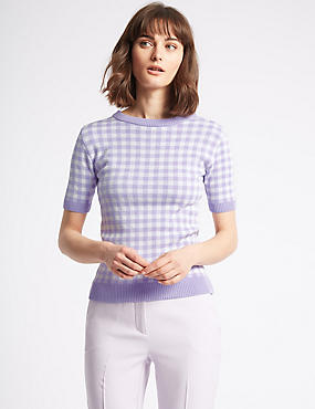 Checked Round Neck Half Sleeve Jumper, LILAC, catlanding
