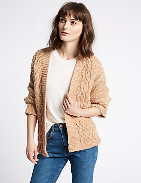 Cotton Blend Textured Long Sleeve Cardigan  , COPPER ROSE, catlanding