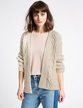 Cotton Blend Textured Long Sleeve Cardigan