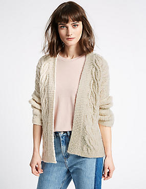 Cotton Blend Textured Long Sleeve Cardigan  , CREAM, catlanding