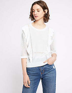 Ruffle Round Neck Half Sleeve Jumper, WINTER WHITE, catlanding