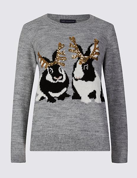Embellished Rabbit Print Christmas Jumper