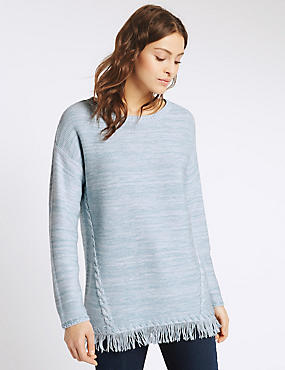 Textured Fringe Hem Slash Neck Jumper