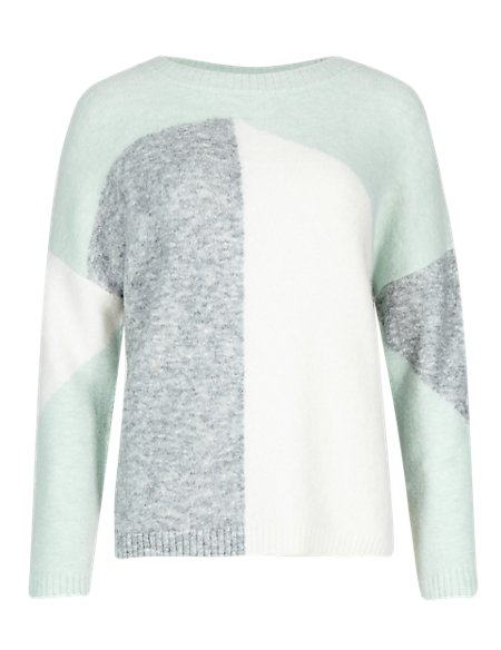 Asymmetrical Pattern Jumper with Wool