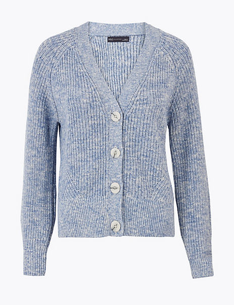 Pure Cotton Ribbed Relaxed Fit Cardigan