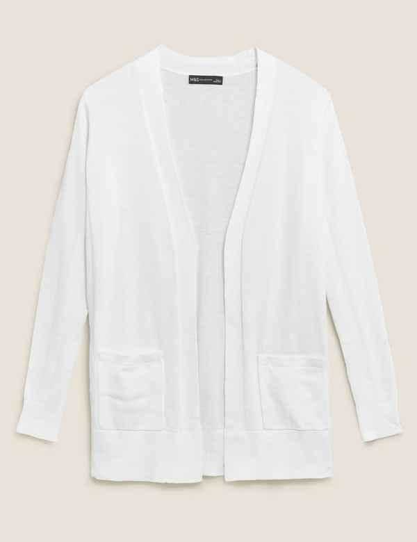 New M/&S Fine Knit CASHMILION Open Front CARDIGAN ~ Medium or Large ~ CORAL