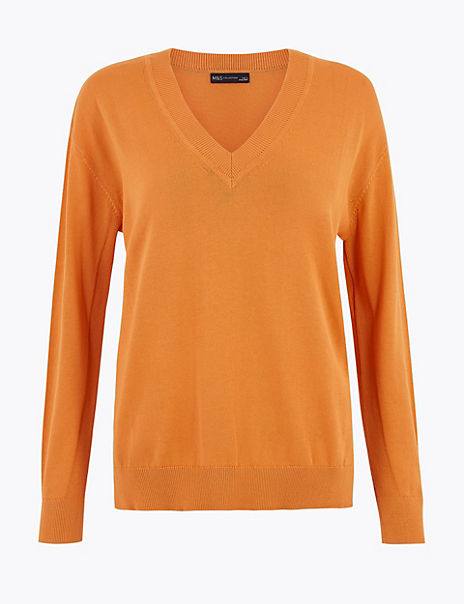 Pure Cotton Relaxed Fit V-Neck Jumper