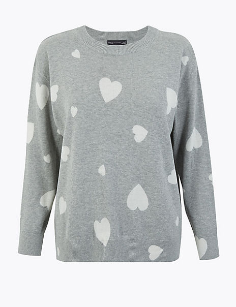 Pure Cotton Heart Print Relaxed Fit Jumper