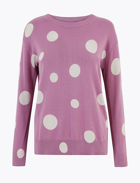 Pure Cotton Spot Print Crew Neck Jumper