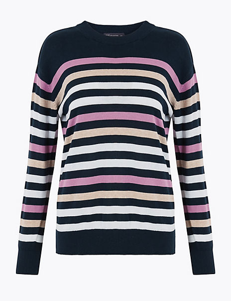 Pure Cotton Striped Relaxed Fit Jumper