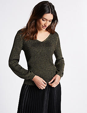Ribbed Tie Back V-Neck Bubble Sleeve Jumper