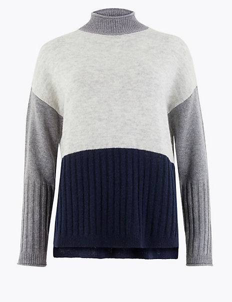 Colour Block Funnel Neck Relaxed Fit Jumper
