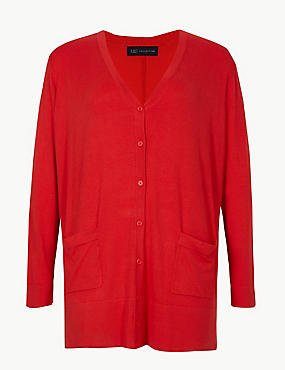 CURVE Longline Cardigan, BRIGHT RED, catlanding