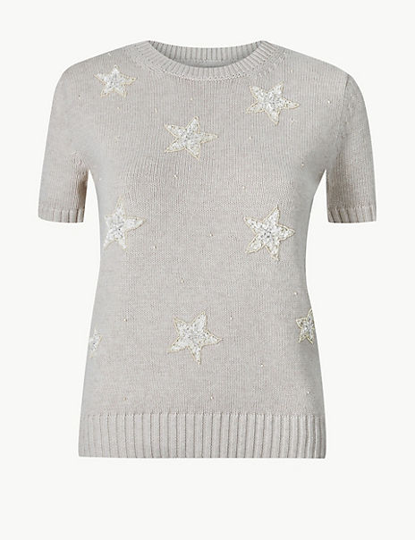 Pure Cotton Embellished Knitted Top