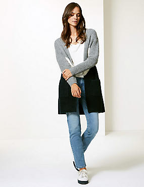 Colour Block Longline Cardigan , BLUE MIX, catlanding