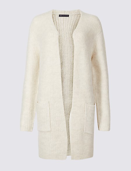 Textured Open Front Cardigan