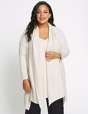 CURVE Dipped Hem Shawl Collar Cardigan, CREAM, catlanding