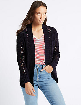 Cotton Rich Textured Cardigan , NAVY, catlanding