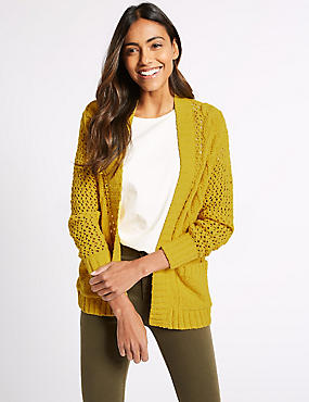 Cotton Rich Textured Cardigan , BUTTERCUP, catlanding