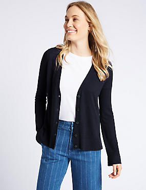 Long Sleeve Cardigan, NAVY, catlanding