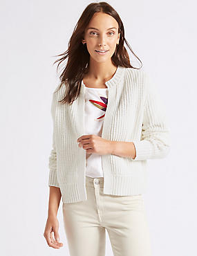 Cotton Blend Textured Cardigan , SOFT WHITE, catlanding