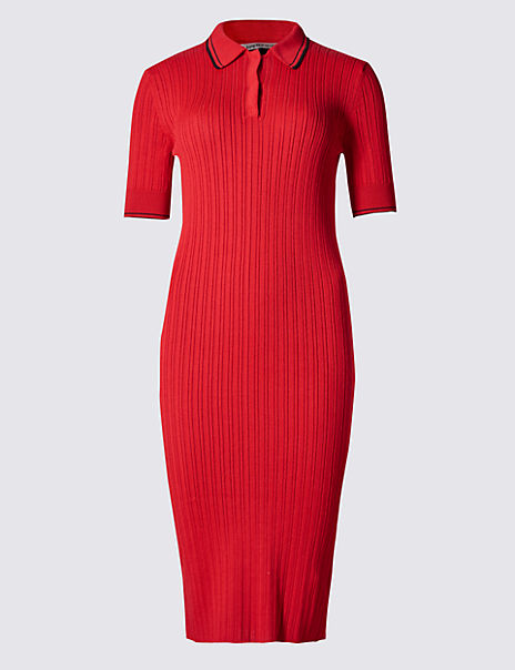 Collared Neck Knitted Tunic Dress
