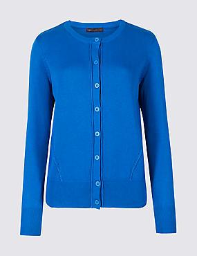 Pure Cotton Round Neck Long Sleeve Cardigan