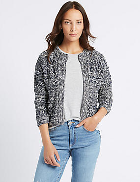 Cotton Rich Textured Trophy Cardigan, NAVY MIX, catlanding