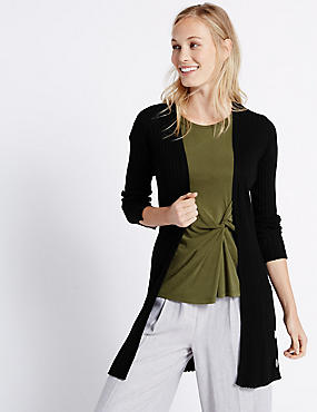 Open Front Ribbed Cardigan, BLACK, catlanding