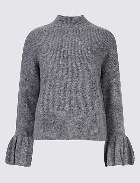 Funnel Neck Flute Sleeve Cropped Jumper