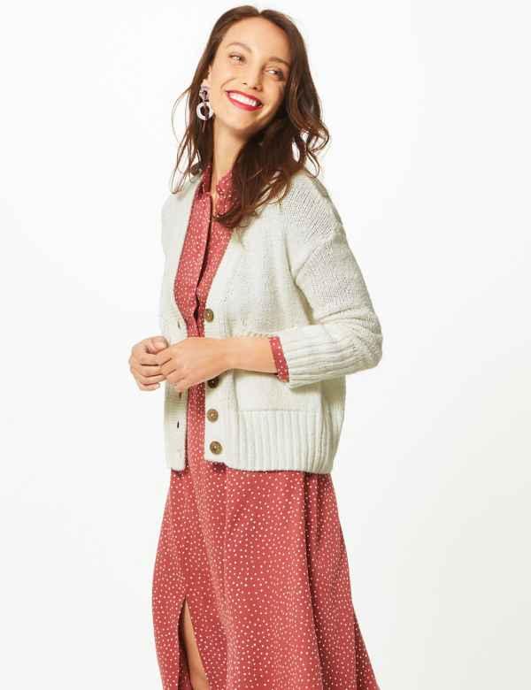 Cotton Rich Textured Cardigan 1c8c68206