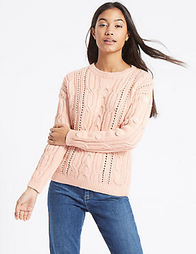 Cotton Blend Cable Knit Button Sleeve Jumper, BLUSH, catlanding